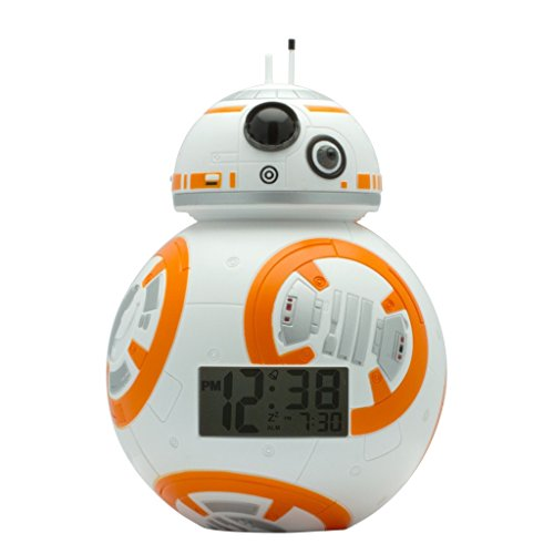 BulbBotz 2020503 Star Wars BB-8 Kids Light Up Alarm Clock | white/orange | plastic | 7.5 inches tall | LCD display | boy girl | official