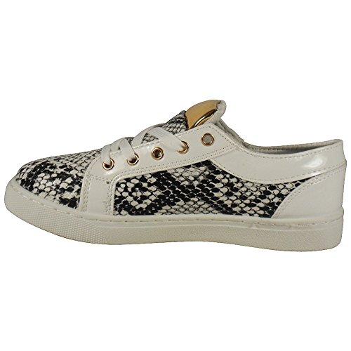 LoudLook Nuevo para mujer, cremallera Lace Up Zapatos de tacón bajo bombas Flats botas tamaño 3–8UK White Snake