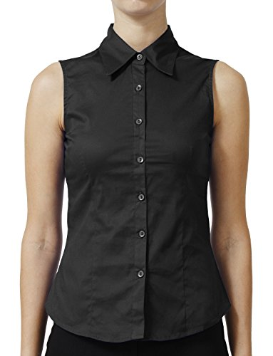 NE PEOPLE Womens Basic Tailored Sleeveless Button Down Shirt S-3XL -