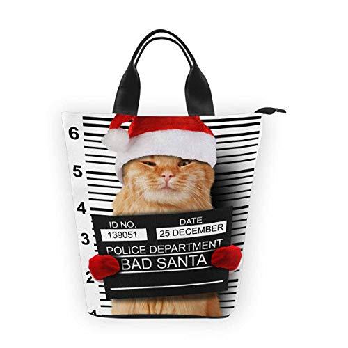 InterestPrint Nylon Cylinder Lunch Bag Christmas Cat Banner Reusable Tote Bag