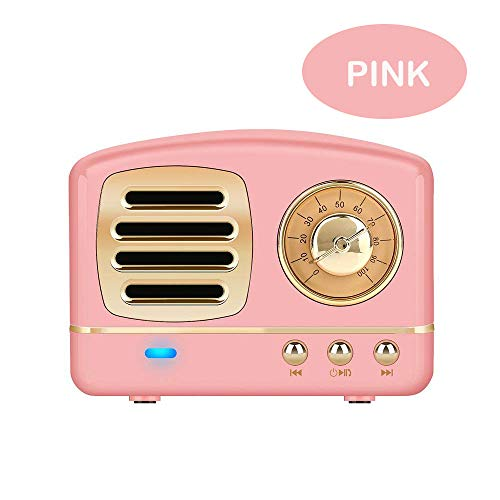 Enhanced Bass Retro Stereo Wireless Vintage Portable Speaker with TF Card Slot,USB Port,Built-inMic,forOutdoors,Beach,Home,Travel,Compatible for Android/iOS Devices(Pink)