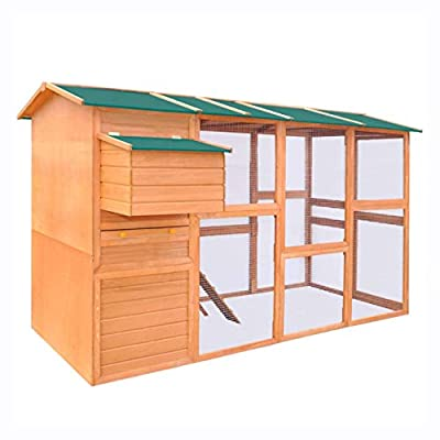"""K&A Company Small Animal Habitat & Cage, Chicken Coop Wood 116""""x64.2""""x67"""""""