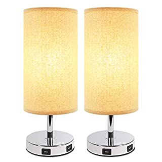 Touch Table Lamp with 2 USB Charging Ports( 2 LED Bulbs Included), Aooshine 3 Way dimmable Touch Control Bedside Lamp, Suitable for Nightstand Lamp, Set of 2