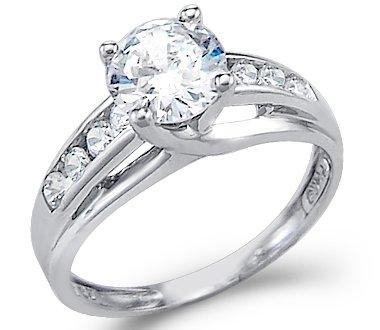 14K White Gold Round Solitaire Cubic Zirconia Engagement Ring, Size 7 (Cubic Zirconia Gold Rings)