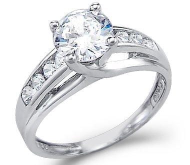 Size- 10 - Solid 14k White Gold Solitaire Round CZ Cubic Zirconia  Engagement Ring 1.5