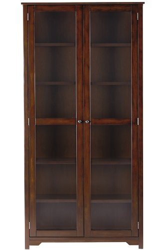 Home Decorators Collection Oxford 72 H Bookcase With Glass Doors Six Shelf 36 Chestnut