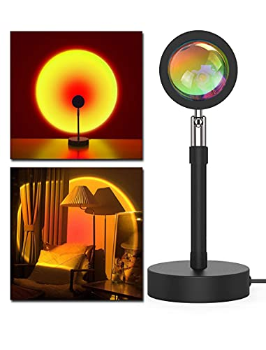 Etiondrm Sunset Lamp Sunset Projector 180 Degree Rotation Sunset Light Projection USB Charging for Photography/Selfie (Sunset Red)