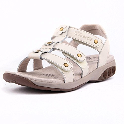 Therafit Claire Women's Leather Gladiator Adjustable Sandal - White, Size 7 - For Plantar Fasciitis/Foot Pain by Therafit