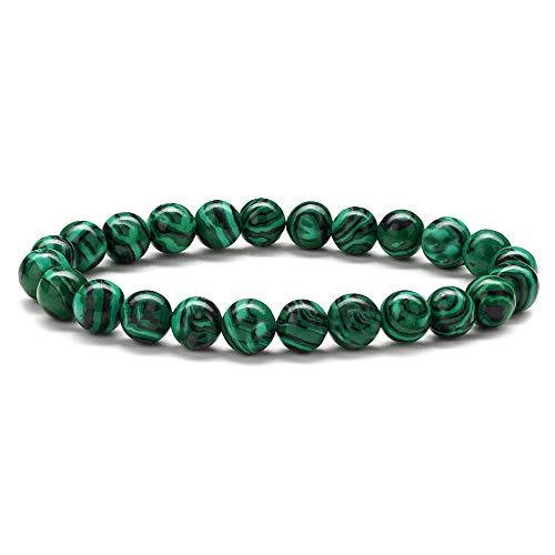 MONOOC Malachite Mens Breads Bracelet - 8mm Natural Malachite Stone Bracelet Women Anxiety Bracelet Elastic Yoga Beads Bracelet for Men Bridesmaid Gifts