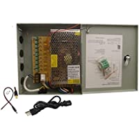 CamVtech Key 9 Output 12 V 10A DC CCTV Distributed Power Supply Box Auto Reset for Security Camera 9ch