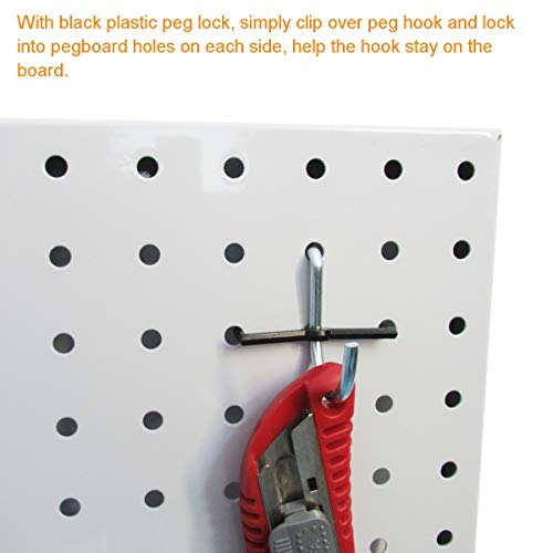 Pegboard Hooks Assortment with Pegboard Bins, Peg Locks, for Organizing Tools, 80 Piece by FRIMOONY (Image #5)