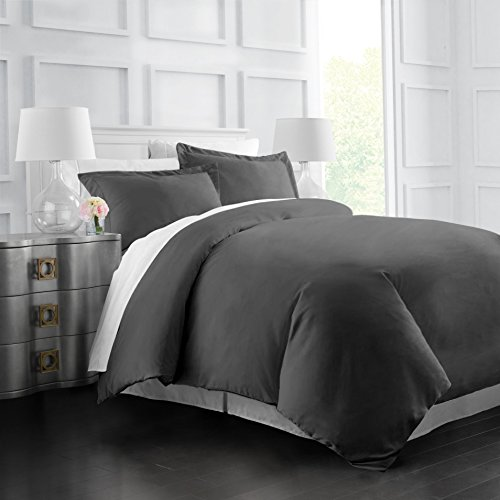 Italian Luxury Soft Brushed 1500 Series Microfiber Duvet Cover Set - Hotel Quality & Hypoallergenic with Zippered Closure & Matching Shams - Full/Queen - Gray