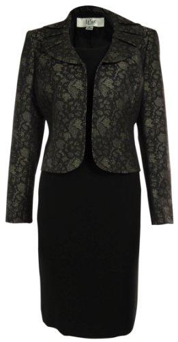LE SUIT Pleated Neckline Jacket/Dress Suit - Dark Green/Black
