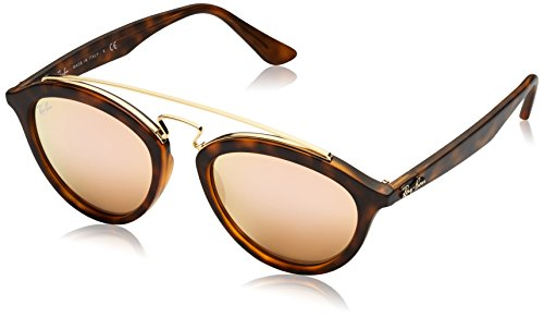 Ray-Ban INJECTED WOMAN SUNGLASS - MATTE HAVANA Frame LIGHT BROWN MIRROR PINK Lenses 50mm Non-Polarized by Ray-Ban