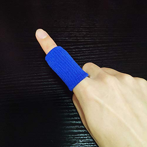 Fantye 20 PCS Finger Sleeves Protectors, Sport Finger Sleeves Thumb Brace Support Finger Brace Elastic Thumb Sleeves for Relieving Pain Arthritis Trigger Finger(Blue Black)