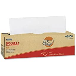 Wypall L30 DRC Wipers (05800), Strong and Soft Wipes, White, 100 Sheets / Pop-Up Box, 8 Boxes / Case, 800 Wipes / Case