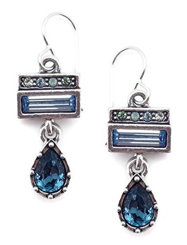Patricia Locke Zephyr Chevalier Blue Green Mix Swarovski Crystal Silvertone Hook Earrings