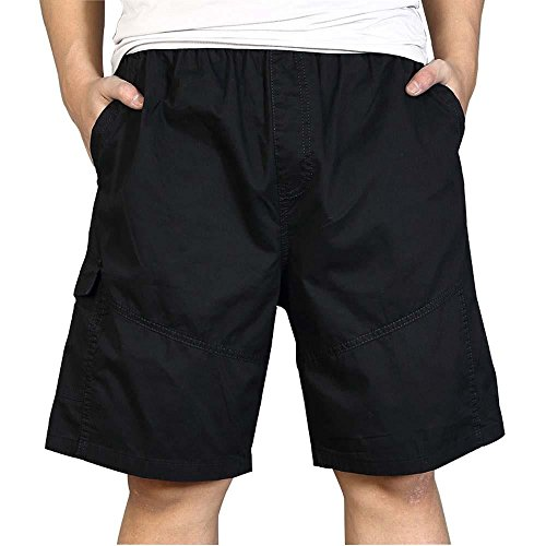 MUST WAY Men's Casual Loose Fit Lightweight Elastic Waist Cargo Shorts Cotton Ripstop Outdoor Wear 8102 Black XXXXXL