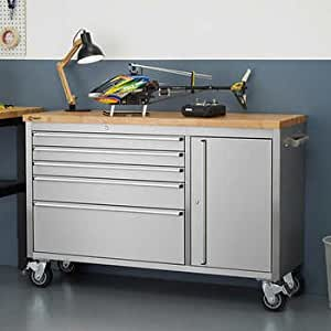 Amazon Com Trinity 56 Quot Stainless Steel Rolling Workbench