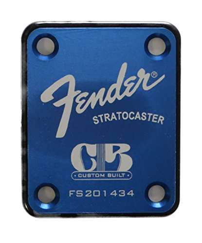 Fender Stratocaster Neck Plate with Custom Built logo - Blue