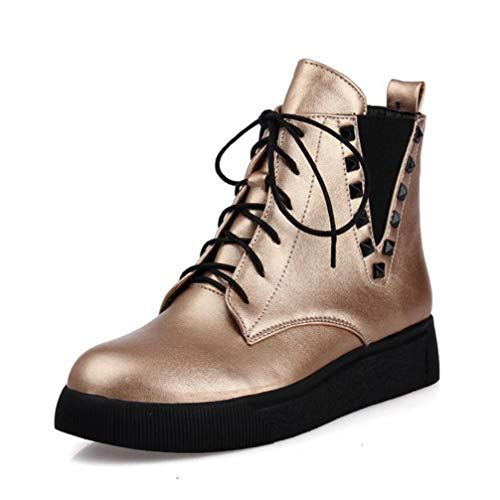 T-JULY Fashion Women Rivet Lace Up Solid Color Flats Boots Winter Warm Shoes Girls Motorcycle Ankle Boots Ladies Party Shoes Gold