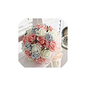 Fantasticlife06 Bridal Hands Bouquet Wedding Gossamer Hand Bouquet Simulation Flowers Ball Wedding Flowers 25