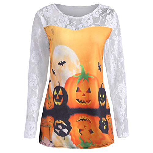 Hot Sale! Women Fashion Halloween Pumpkin Face Print Tops - vermers Women Casual Long Sleeve Lace T Shirt Blouse(S, White) -