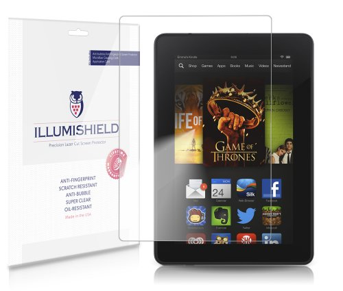 iLLumiShield Screen Protector Compatible with Amazon Kindle Fire HD 7 (2nd Gen)(2013)(3-Pack) Clear HD Shield Anti-Bubble and Anti-Fingerprint PET Film