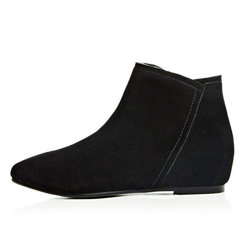Heighten Black Round Boots Toe Frosted Zipper Inside Girls BalaMasa A1wqnz