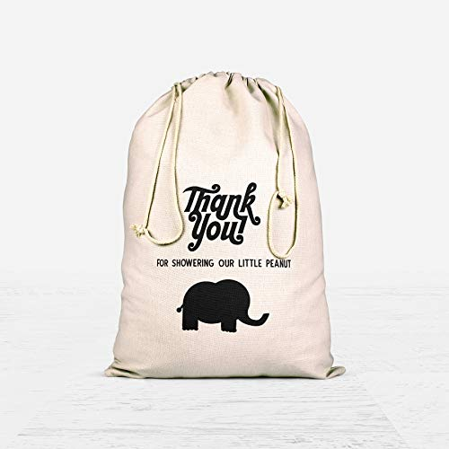 Thank You Baby Shower Favor Bags Cute Elephant Candy Buffets Bag Event Favors Muslin Bag Goodie Zoo Bag Safari Party Animal Theme Customized Cotton Drawstring Eco Friendly Gift Bag -Set Of 10 -