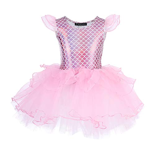 Shiny Mermaid Scale Ballet Dress for Girls Camisole Tutu Ballerina Dance Spaghetti Straps Leotard with Ruffle Chiffon Skater Skirt Little Toddler Gymnastics Dancewear Kids Princess Costume Pink 5-6Y