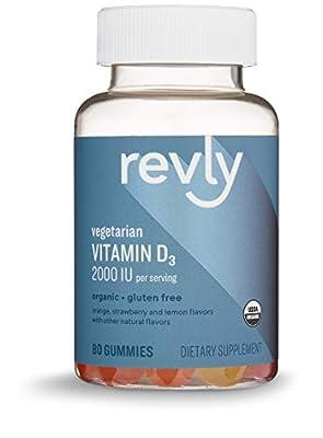 Amazon Brand – Revly Vitamin D3 2000 IU, 80 Gummies, 40-Day Supply, Vegetarian, Organic