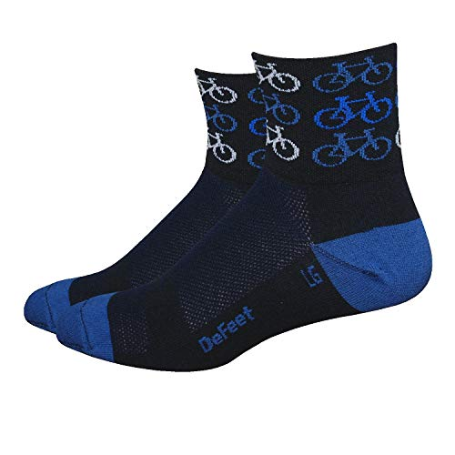 DeFeet AirEator 2.5in Cool Bikes Cycling/Running Socks (Cool Bikes - S)