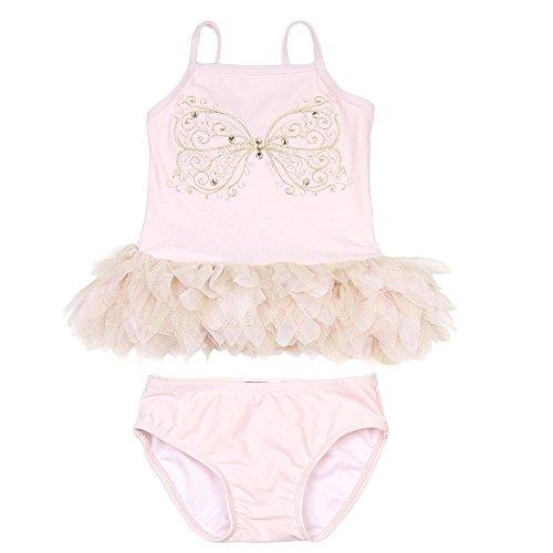 Kate Mack Baby Girls Pink Butterfly Multi Ruffle 2 Pc Tankini Swimsuit - Mack Nylon Tankini Kate