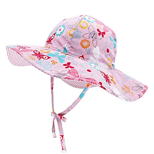 Baby Sides Bucket Sun Hat Wide Brim for Boy Girl Toddler Kids Play Hat Adjustable Elastic Summer Reversible Cap with uv Protection ()