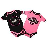 Hardy-Davidson Daddy Baby 'Rides A Harley Creeper, paquete de 2 1103052 (3 /6M), rosado