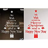 HOOPE 2 Pcs Christmas Window Clings Decals Red White Merry Christmas Wall Sticker for Door Showcase Home Mural Decorations DIY Party Supplies, Removable