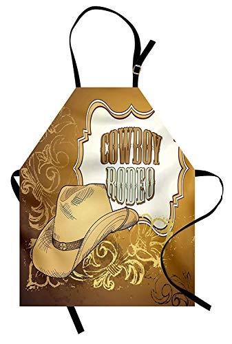 T&H Home Western Apron, Cowboy Rodeo Themed Framework Vintage Floral Ornaments and Hat Design, Unisex Kitchen Bib Apron Adjustable for Kids Adults Cooking Baking Gardening, Pale Caramel White ()