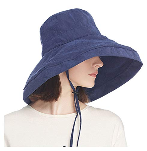 iEasey Packable Velvet Wide Brim Floppy Sun Hat Summer UPF 50+ Anti-UV Sunhat Roll Up Travel Camping Sun Bucket Hat with Chin Strap ()