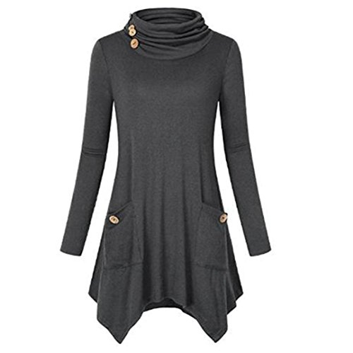 TAORE Women Loose Casual O-Neck Long Sleeve Tunic Shirt Ruffles Mini Dress (US4/Size TagL, Black A) (US6-8/Size TagXL, Gray) (Apparel Stretch Wash)