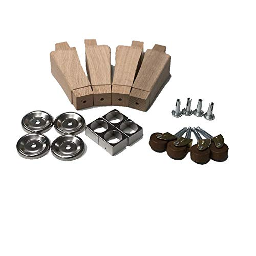 Hoosier Cabinet Leg Nickel Kit Set | Furniture Feet Protection, Replacement Hardware for Repairing, Decoration or Restoring Cabinet, Dresser + Free Bonus (Skeleton Key Badge) | HLK-1N ()