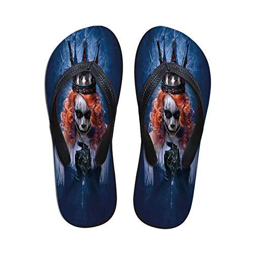 Queen Wear Resisting Flip Flops,Queen of Death Scary Body Art Halloween Evil Face Bizarre Make Up Zombie for Indoor & Outdoor,US Size 6 -