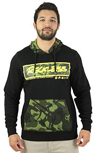 Young & Reckless Men's Pullover Camo Sweatshirt Hoodie Black Sz S