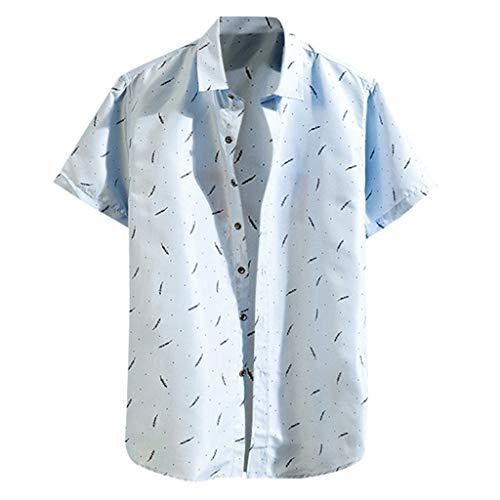 Shirt Regular-Fit Short-Sleeve Summer Fashion Shirts Casual Beach Tops Loose Casual Blouse Mens (3XL,5- -