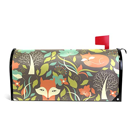 Cartoon Fox Fall Flower Mailbox Magnetic Cover Medium Large Capacity Post Box Covers (Lowes Decor Fall)