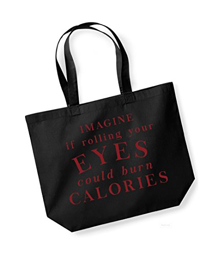 Burn Tote Eyes Calories If Slogan Imagine Unisex Could Your Cotton Black Rolling Red Canvas Bag wPR1qt