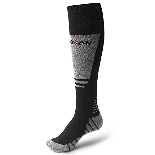 MUSAN Wool Ski Socks, Extra Warm Performance Knee High Outdoor Snow Skiing/Hiking/Trekking Socks,Fit for Men and Women(XL) (Sock Ski High Performance)