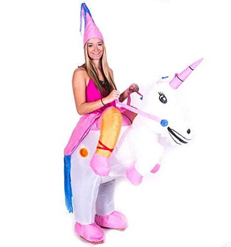 JANKIA Adult Costume Inflatable Unicorn Costumes Ride on Unicorns for Halloween Party Mens & Womens -
