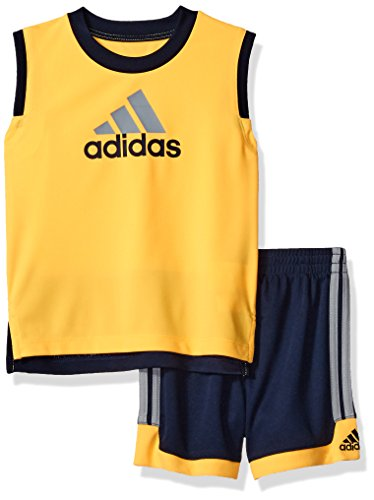 adidas Baby Boys' Tank and Active Short Set, Gold, 6 Months