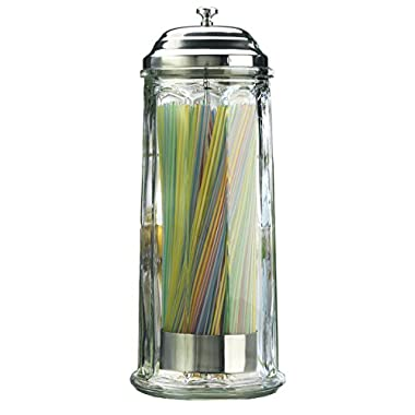 Palais Glassware High Quality Glass Straw Dispenser with Chrome Base & Cover, 11  High